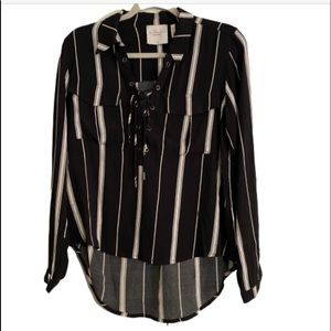 L'Academie Black and White Stripe Lace up Top XS